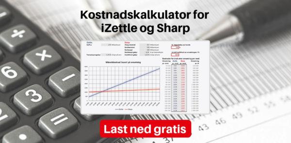 Kalkulator iZettle og Sharp
